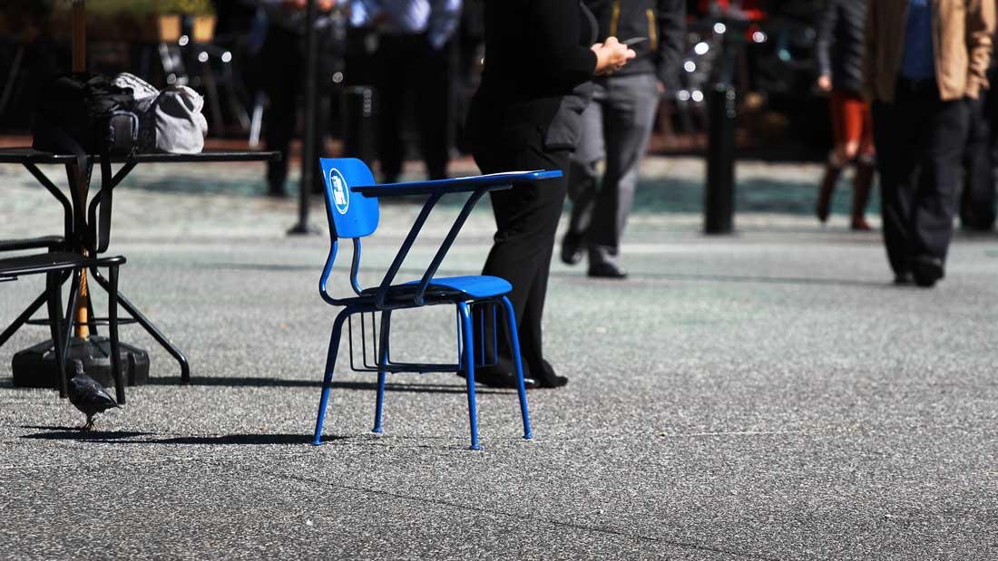 lone blue chair