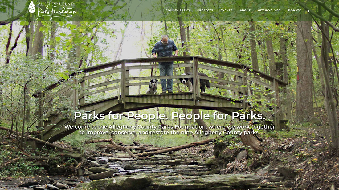 Allegheny County Parks Foundation website homepage