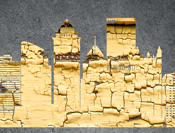 Cracked gold paint on silhouette of Pittsburgh